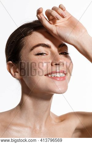 Beauty Face Of Woman Touch Clean And Fresh Hydrated Skin, Perfect Facial Nude Makeup And Smile, Stan