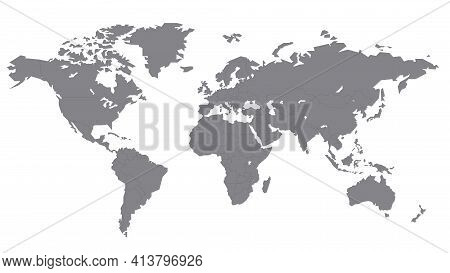 World Map, Gray, On A White Background, Each Country On A Separate Layer. Flat Illustration. Stock V