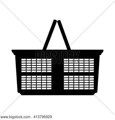 Shopping Basket Icon. Supermarket Basket Black Silhouette Isolated On White Background. Market Cart.