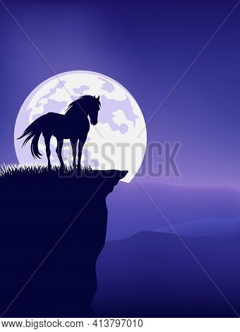 Wild Mustang Horse Standing At Mountain Cliff Against Full Moon - Fairy Tale Stallion Silhouette And