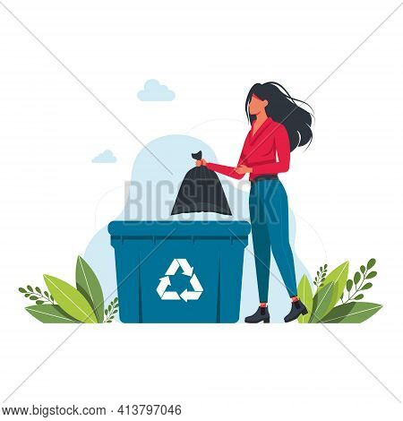 A Woman Throws A Garbage Bag Into A Trash Can, Garbage Recycling Sign Volunteering People, Ecology,