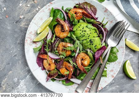 Green Salad With Avocado And Shrimps Salad. Seafood Concept. Tasty Veg Mixed Leaves, Grilled Prawn S