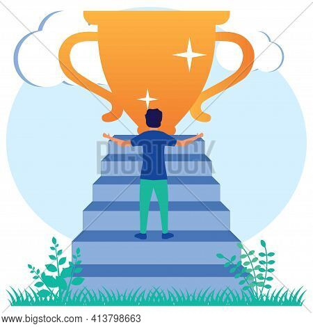 Vector Illustration Of Modern Style Successful Businessperson, Achievement Concept. Person Character