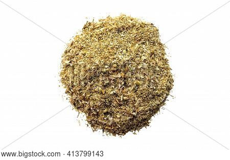 Dried Medical Chamomile Flowers And Grass Isolated On Wtite Background. Heap Of Dried Chamomile Herb