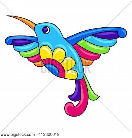 Decorative Ornamental Tropical Hummingbird. Mexican Ceramic Cute Naive Art.