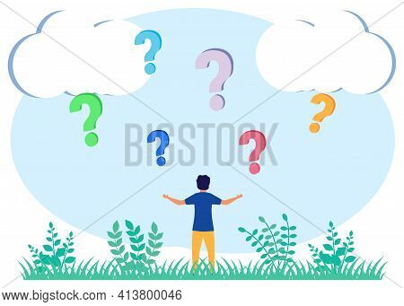 Vector Illustration Of A Business Concept. Business Decision Making Is Dubious About Confusing Choic