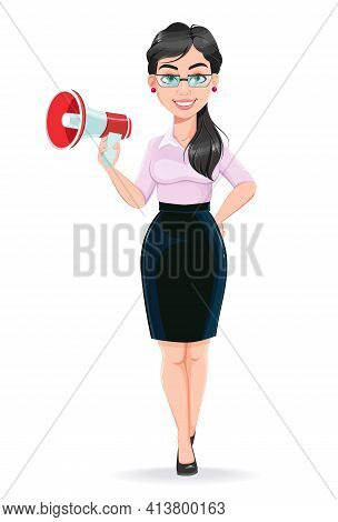 Beautiful Successful Business Woman Cartoon Character Holding Loudspeaker. Usable As Manager, Secret