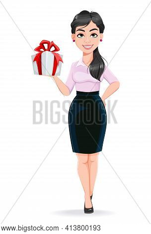 Beautiful Successful Business Woman Cartoon Character Holding Gift Box. Usable As Manager, Secretary