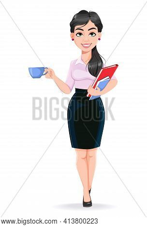 Beautiful Successful Business Woman Cartoon Character Having A Coffee Break. Usable As Manager, Secr