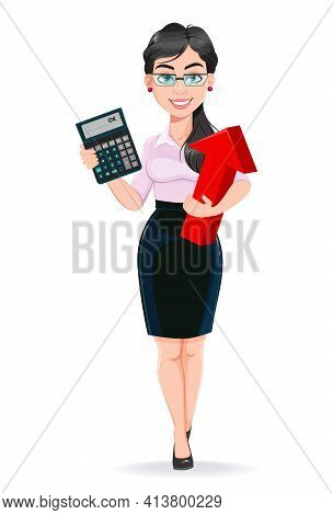 Beautiful Successful Business Woman Cartoon Character Calculates Income. Usable As Manager, Secretar