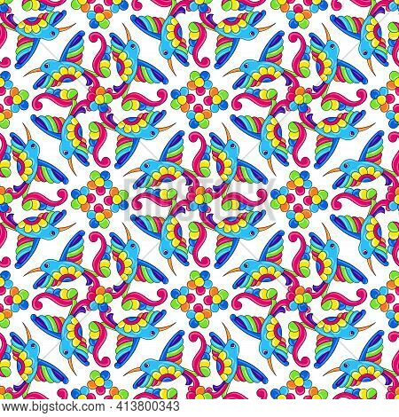 Mexican Talavera Seamless Pattern With Tropical Hummingbirds. Traditional Decorative Objects.