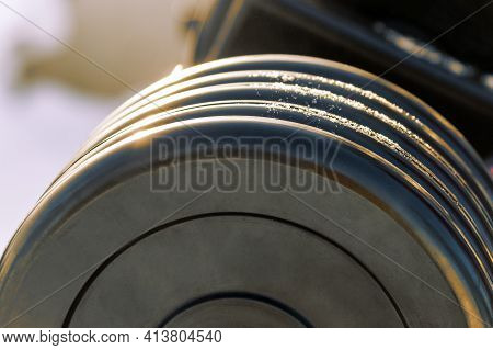 Weights For Weightlifting On The Outdoor Sports Ground. High Quality Photo