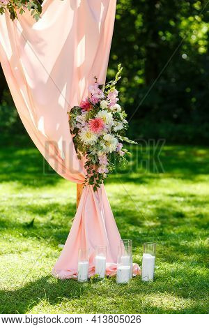 Area Of The Wedding Ceremony. Wooden Rectangular Arch