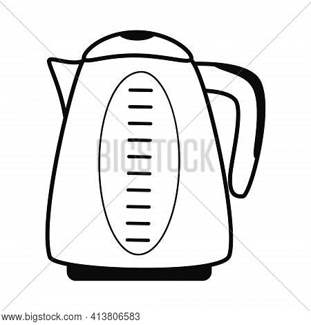 Electric Kettle, Kitchen And Household Appliance, A Colorful Pattern On A White Background. Shiny Te