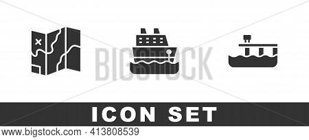 Set Folded Map, Cruise Ship And Beach Pier Dock Icon. Vector