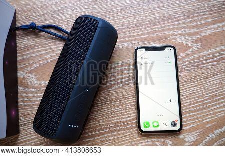 Portable Bluetooth Speaker For Smartphones. Portable Speaker For Music And Radio