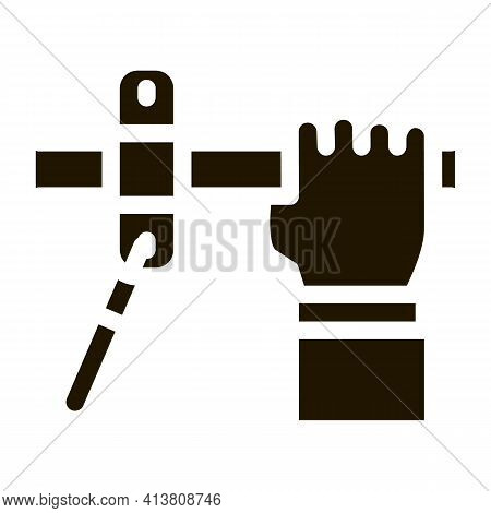 Hand Fastens Pipe Icon Vector Glyph Illustration