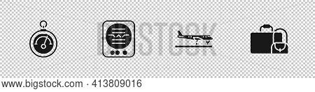 Set Barometer, Attitude Indicator, Plane And Suitcase Icon. Vector