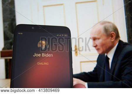Saransk, Russia - March 22, 2021: The Smartphone With Joe Biden Contact Seen On It's Screen And Vlad