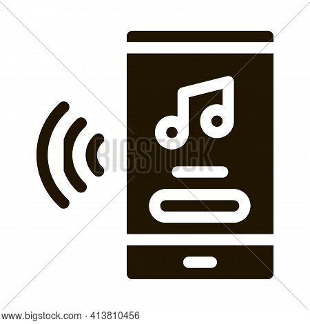 Music Phone App Glyph Icon Vector. Music Phone App Sign. Isolated Symbol Illustration