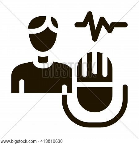 Testing Music Performance On Man Glyph Icon Vector. Testing Music Performance On Man Sign. Isolated