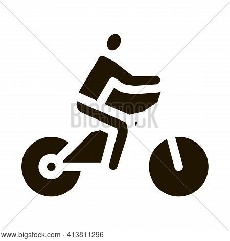 Man On Bicycle Glyph Icon Vector. Man On Bicycle Sign. Isolated Symbol Illustration