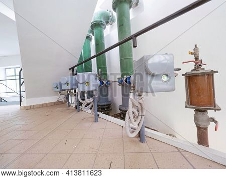 Modern Pumping Station Room For Tube Transport. Pipeline With Water Pump And Remote Cotrol