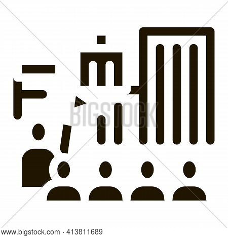 Tour Group On Excursions Glyph Icon Vector. Tour Group On Excursions Sign. Isolated Symbol Illustrat