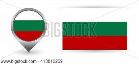 Vector Flag Bulgaria. Location Point With Flag Bulgaria Inside.