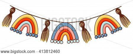 Vector Hand Drawn Boho Clipart For Nursery Decoration With Cute Rainbows. Perfect For Baby Shower, B