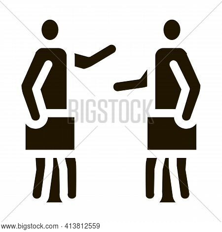 Meeting Of Two Working People Glyph Icon Vector. Meeting Of Two Working People Sign. Isolated Symbol