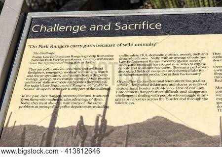 Usa, Arizona, 26,06,2016 Organ Pipe Cactus National Monument.