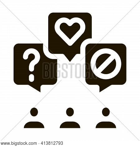 Different Demands Of People Glyph Icon Vector. Different Demands Of People Sign. Isolated Symbol Ill