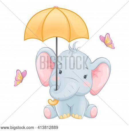 Cute Little Elephant Holding Umbrella. Funny Cartoon Character. Stock Vector Illustration On White B