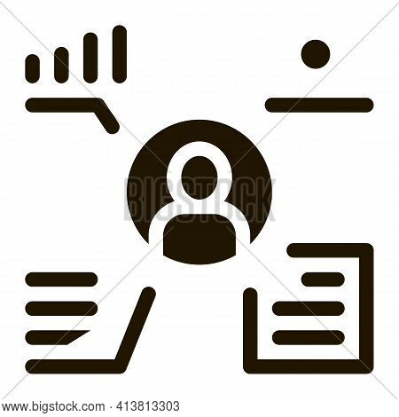Full Electronic Information About Person Glyph Icon Vector. Full Electronic Information About Person