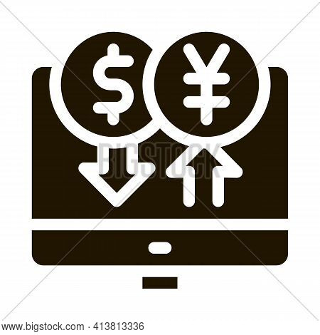 Computer Currency Exchange Glyph Icon Vector. Computer Currency Exchange Sign. Isolated Symbol Illus