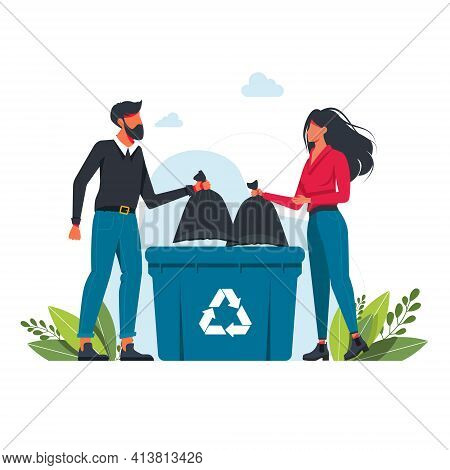 Man And Woman Throws A Garbage Bag Into A Trash Can, Garbage Recycling Sign Volunteering People, Eco