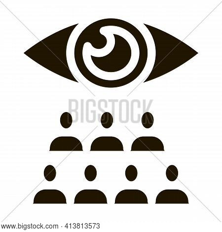 Watching Team Of People Glyph Icon Vector. Watching Team Of People Sign. Isolated Symbol Illustratio