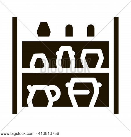 Cupboard With Clay Products Glyph Icon Vector. Cupboard With Clay Products Sign. Isolated Symbol Ill