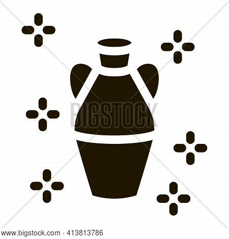 Finished Clay Vase Glyph Icon Vector. Finished Clay Vase Sign. Isolated Symbol Illustration
