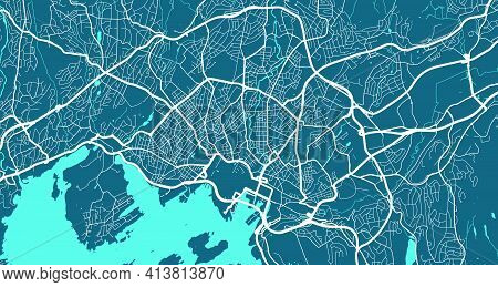 Detailed Map Of Oslo City Administrative Area. Royalty Free Vector Illustration. Cityscape Panorama.