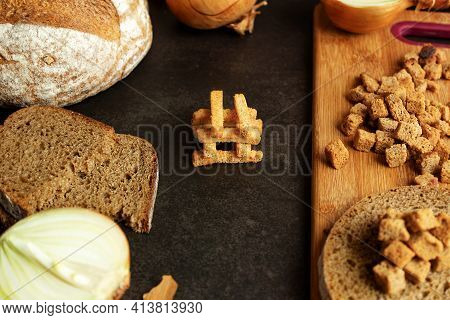 Croutons With Onions, Ingredients For Making Homemade Croutons, Bread On A Dark Background