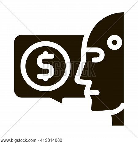 Money Issue Of Robot Glyph Icon Vector. Money Issue Of Robot Sign. Isolated Symbol Illustration