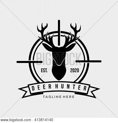 Hunter Logo Symbol. Vintage Deer Hunter Logo Vector Illustration Design