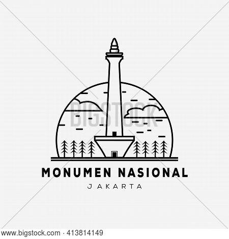 National Monument Line Art. National Monument Jakarta Indonesia Logo Vector Illustration Design
