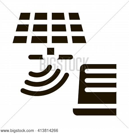 Solar Signal Transmission To Computer Glyph Icon Vector. Solar Signal Transmission To Computer Sign.