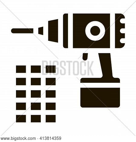 Drill Repair Battery Glyph Icon Vector. Drill Repair Battery Sign. Isolated Symbol Illustration