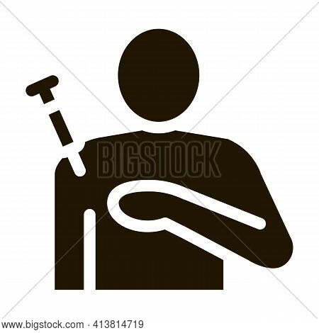 Injection In Shoulder Glyph Icon Vector. Injection In Shoulder Sign. Isolated Symbol Illustration