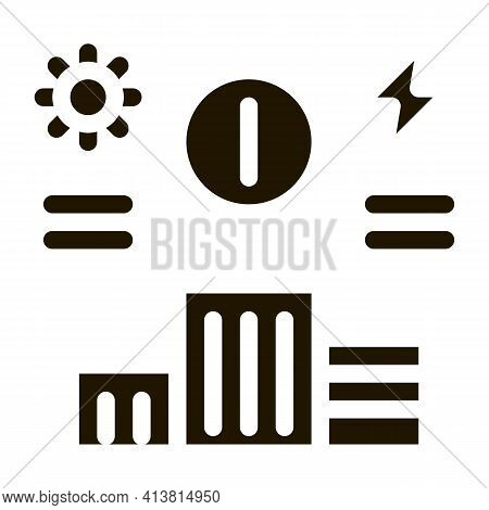 Information About Supply Of Electricity To House Glyph Icon Vector. Information About Supply Of Elec