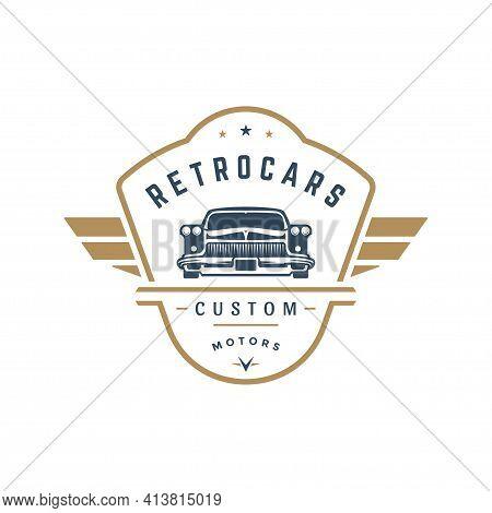 Hot Rod Car Logo Template Vector Design Element Vintage Style
